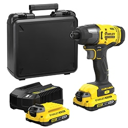 18V STANLEY® FATMAX® V20 Impact Driver with 2 x 2.0Ah Lithium-Ion Batteries and Kit Box