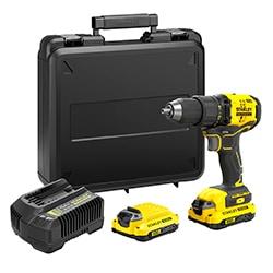 18V STANLEY® FATMAX® V20 kulløs bore-/skruemaskine med 2 x 1,5 Ah litium-ion-batterier og sætboks