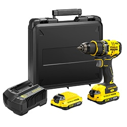 STANLEY® FATMAX® V20 18V Perceuse-visseuse Brushless, 2x 2.0Ah batteries et coffret
