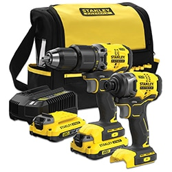 18V STANLEY® FATMAX® V20 Brushless 2-Piece Combo Kit with 2 x 2.0Ah Lithium-Ion Batteries and Soft Bag