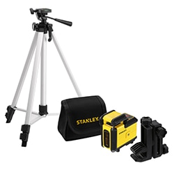 STANLEY® 360° Cross Line Red Beam Laser Level with tripod and pouch