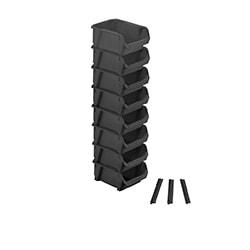 STANLEY® 8 Svarta Förvaringslådor - Liten med 3 små vägghängare
