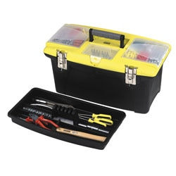 Jumbo Tool Box with 2 Pull Out Organizers, Bit Holder and Metal Latches
