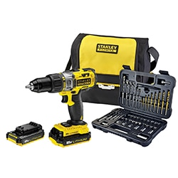 STANLEY® FATMAX® 18V Hammer Drill with 50 piece Accessory set in Soft bag