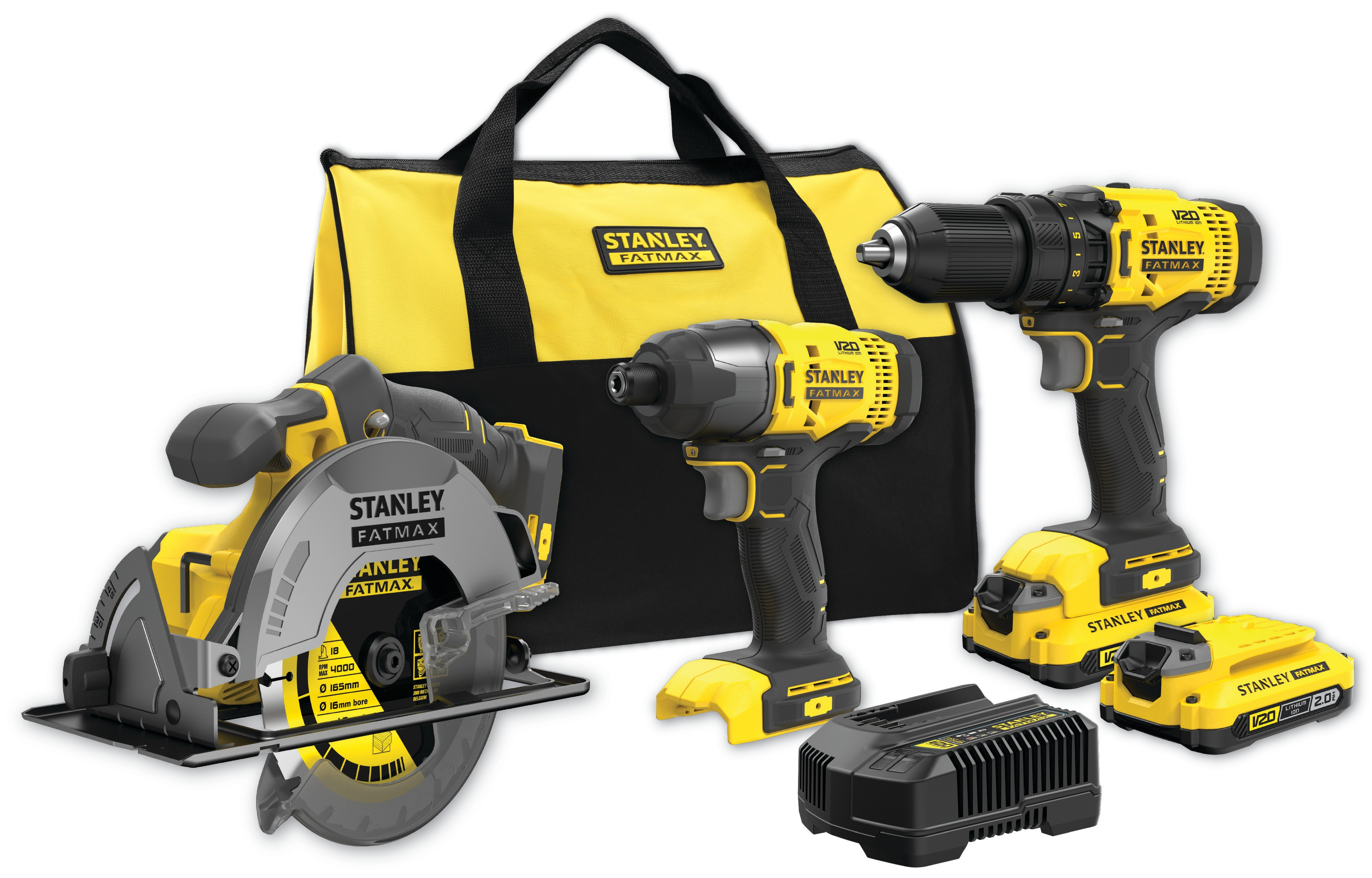 18V STANLEY® FATMAX® V20 COMBO ΣΕΤ 3 ΤΕΜΑΧΙΩΝ ΜΕ 2 X 2.0AH ΜΠΑΤΑΡΙΕΣ ΚΑΙ ΜΑΛΑΚΗ ΤΣΑΝΤΑ